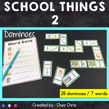 Dominoes -  School Things Vocabulary - Set 2
