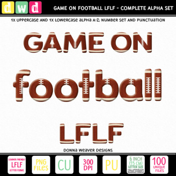 *GAME ON - FOOTBALL LFLF* Printable Letters Numbers Sport Clip Art