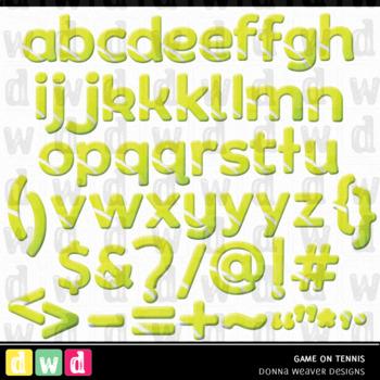 Printable Alphabet Set GAME ON - TENNIS LFLF Letters Numbers Sport Clip Art