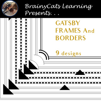 """""""GATSBY INSPIRED"""" Black and White Page Borders and Frames Clipart"""