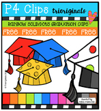 FREE  RAINBOW Graduation Caps {P4 Clips Triorignals Digital Clipart}