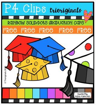 FREE  RAINBOW Graduation Caps {P4 Clips Triorignals Digital Clipart}