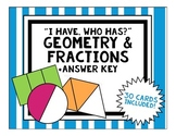 ***GEOMETRY AND FRACTIONS HALVES THIRDS FOURTHS I HAVE WHO HAS REVIEW GAME***