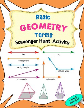 ''GEOMETRY TERMS'' Scavenger Hunt Activity