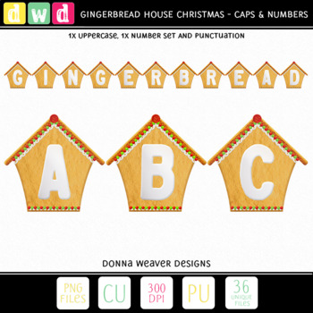 Printable Alphabet GINGERBREAD HOUSE Christmas Letters Number Clip Art