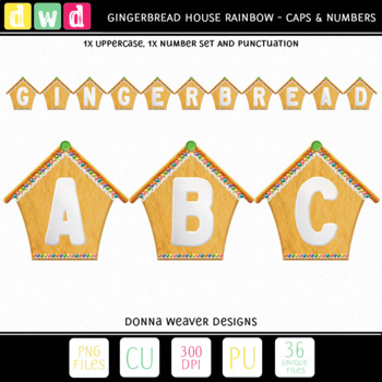 Printable Alphabet GINGERBREAD HOUSE RAINBOW Christmas Letters Number Clip Art