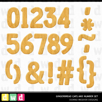 Printable Alphabet GINGERBREAD Christmas Letters Number Clip Art