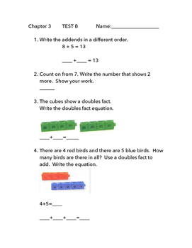 "GO Math 1st Grade, Chapter 3 - Test ""B"""