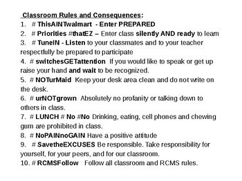 #GOALS  Classroom Rules and Guidelines