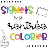 - GRATUIT -  Signets de la rentrée à colorier