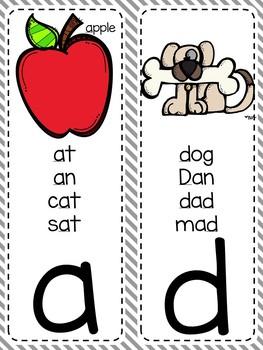 {GRAY AND WHITE} Alphabet & Phonics Cards