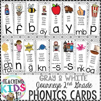 {GRAY AND WHITE} Journeys 2nd Grade Phonics Cards