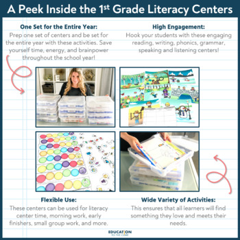 1st Grade Literacy Centers for the YEAR! {GROWING BUNDLE}