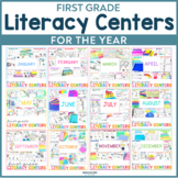 First Grade Literacy Centers for the Year | First Grade Games
