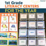 First Grade Literacy Centers | Writing | Word Work | Phonics | Winter Activities