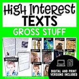 High-Interest Texts - Gross Stuff - 10 Reading Comprehensi