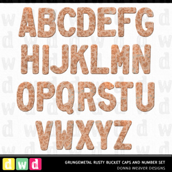 *GRUNGEMETAL RUSTY BUCKET* Printable Metal Letters Number Clip Art
