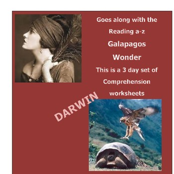 """Galapagos Wonder"" Reading A-Z (Leveled U) 3 day comprehension worksheets"