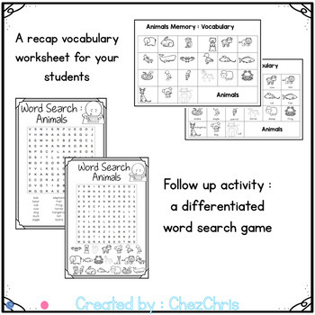 Animals Memory Game - Vocabulary and Word Search