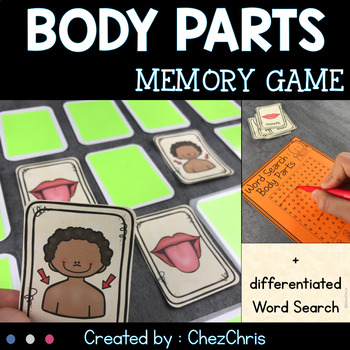 Body Parts Memory Game - Vocabulary and Word Search