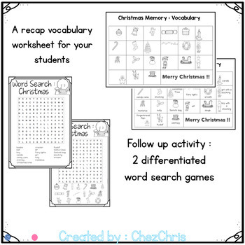 Christmas Memory Game - Vocabulary and Word Search