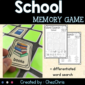 School Vocabulary Memory Game and Word Search