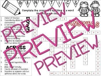 ~ Genetics Crossword Puzzle Activity ~