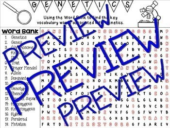 ~ Genetics Word Search Activity ~