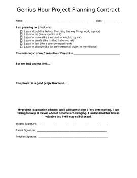 """""""Genius Hour"""" Planning Contract"""