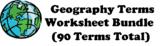 """Geography Term"" Worksheet Bundle (90 total)"