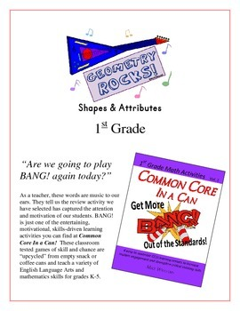 """""""Geometry Rocks!"""" Shapes & Attributes 1st Grade Common Core Game Packet"""