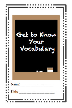 'Get To Know Your Vocabulary' Booklet