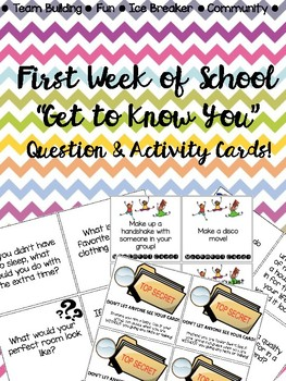 """""""Get to Know You"""" Question & Activity Cards (Back to School)"""
