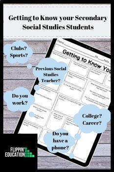 """""""Get to Know You"""" Worksheet for Secondary Social Studies"""
