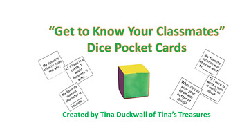 """Get to Know Your Classmates"" Dice Pocket Cards"
