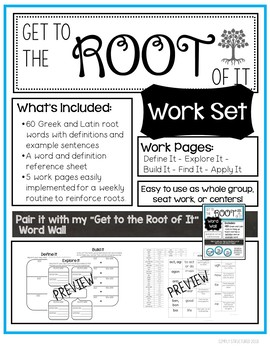 """""""Get to the Root of It"""" Work Set - Greek and Latin Roots"""