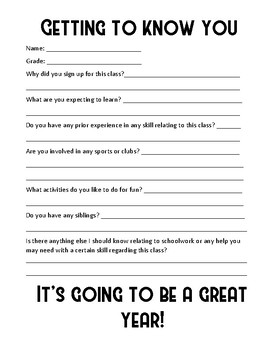 """Getting To Know You"" Questionnaire"