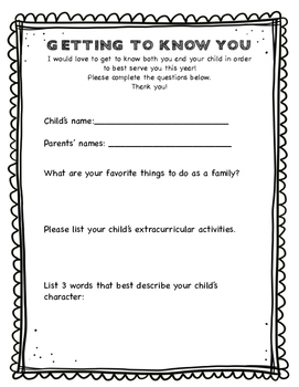 """""""Getting to Know You"""" - Beginning of the Year Parent Questionnaire"""
