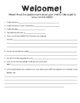"""""""Getting to Know You"""" Student Questionnaire"""