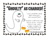 """""""Ghoulty As Charged"""" Halloween Inferencing activity"""