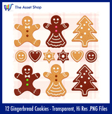 'Gingerbread Christmas Cookies' Set (Digital Clip Art)