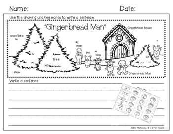 """"""" Gingerbread Man"""" Writing Paper and Rubric"""