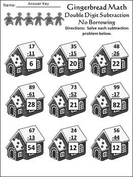 Gingerbread Activities: Gingerbread Math Christmas Math Drills Mini Packet - BW
