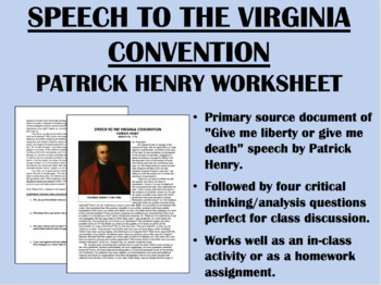 """Give Me Liberty or Give Me Death"" - Patrick Henry - American Revolution - APUSH"