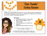 """Give Thanks"" Turkey Thanksgiving Banner"