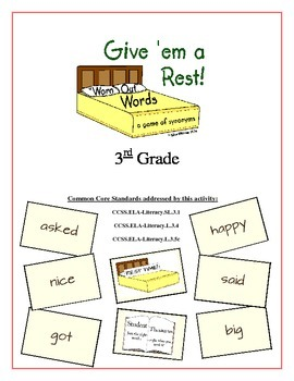 """""""Give 'em a Rest!"""" Synonyms 3rd Grade Common Core Game Packet"""