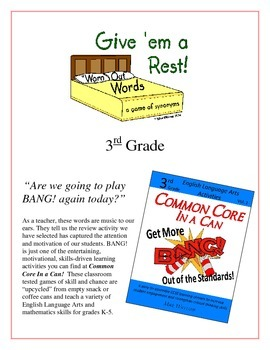 """Give 'em a Rest!"" Synonyms 3rd Grade Common Core Game Packet"