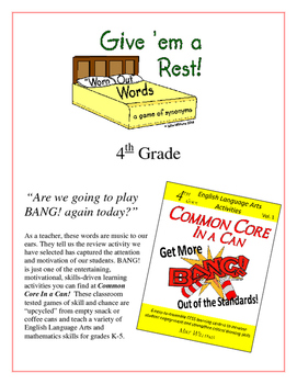 """Give 'em a Rest!"" Synonyms 4th Grade Common Core Game Packet"