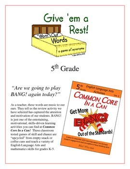 """""""Give 'em a Rest!"""" Synonyms 5th Grade Common Core Game Packet"""