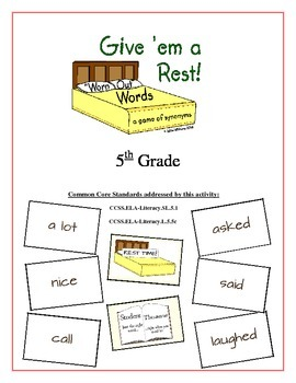 """Give 'em a Rest!"" Synonyms 5th Grade Common Core Game Packet"